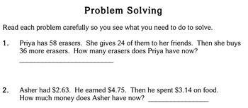 Word Problems, multi-step, 2nd grade - worksheets - Individualized Math