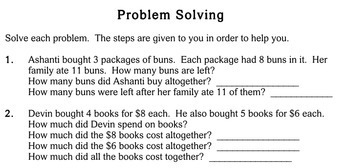 Word Problems, multi-step, 3rd grade - Individualized Math - worksheets