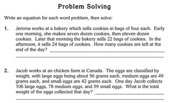 Word Problems, multi-step, 4th grade - worksheets - Individualized Math