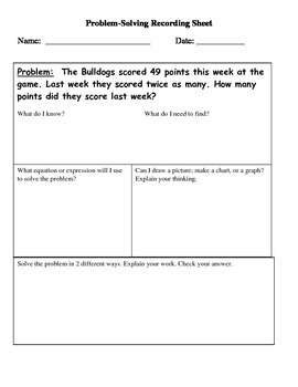 Word Problems on a Problem Solving template