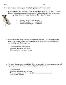 Word Problems: step by step worksheet (2)