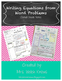 Word Problems to Equations Doodle Notes
