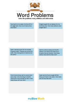 Word Problems using Addition and Subtraction 3/4 - Solve the problems