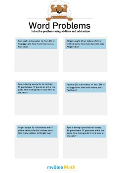Word Problems using Addition and Subtraction 3 - Solve the problems -2nd grade