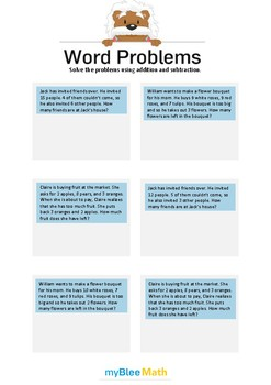 Word Problems using Addition and Subtraction 6 - Solve the problems -2nd grade