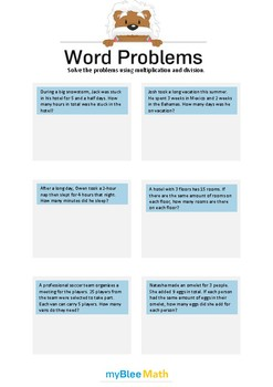 Word Problems using Multiplication and Division 3/4 - Solve the problems