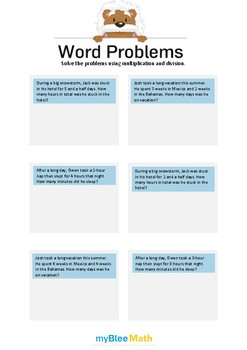 Word Problems using Multiplication and Division 3 - Solve the problems -4th grd