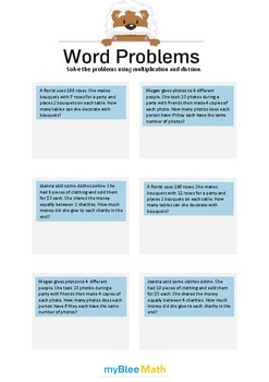 Word Problems using Multiplication and Division 6 - Solve the problems -4th grd