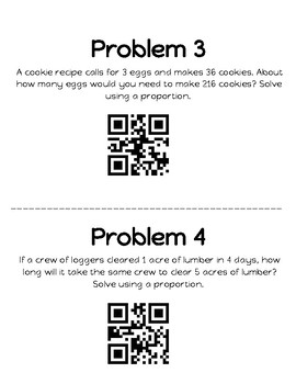 Word Problems using Proportions with QR Codes