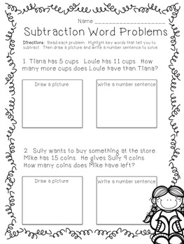 Word Problems using Subtraction: Flipchart, Worksheets, & Anchor Chart