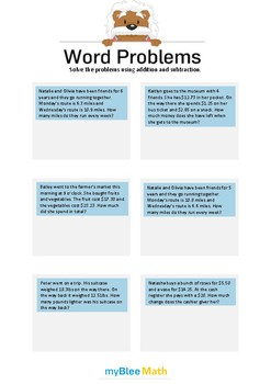 Word Problems with Decimals 3 - Solve the problems -5th grade