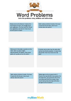 Word Problems with Decimals 4 - Solve the problems -5th grade