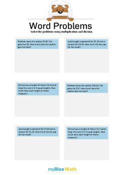 Word Problems with Decimals 6 - Solve the problems -5th grade