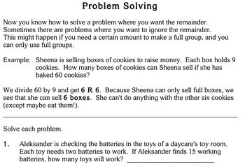Word Problems with Division, 3rd grade - Individualized Math - worksheets