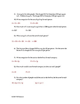 Word Problems with Equations