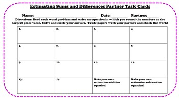 Word Problems with Estimating Sums and Differences Partner Task Cards