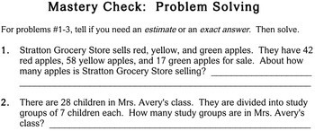 Word Problems with Estimation, 3rd grade - Individualized Math - worksheets