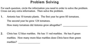 Word Problems with Extra Info, 2nd grade - Individualized Math - worksheets