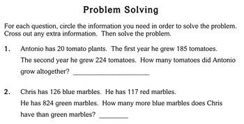 Problems with Extra Info, 3rd grade - Individualized Math - worksheets