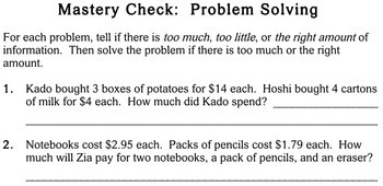 Word Problems with Extra Info, 3rd grade - worksheets - Individualized Math