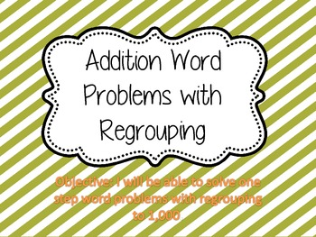 Word Problems with Four Square {Addition with Regrouping}