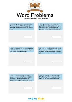 Word Problems with Fractions 5 - Solve the problems -6th grade