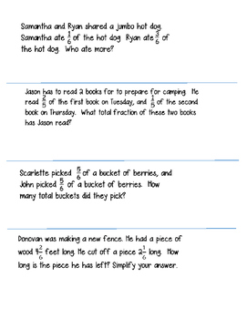 Word Problems with Fractions (Notebook Pages)- 4.NF.3b