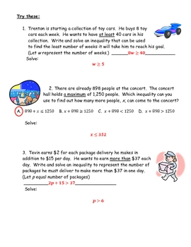 Word Problems with Inequalities:  Writing & Solving