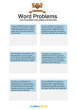 Word Problems with Large Numbers 5 - Solve the problems -5th grade