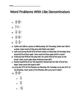 Word Problems with Like Denominators