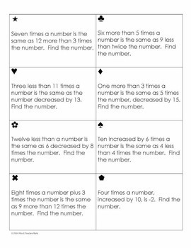 Linear Equations Word Problems Sum Em Activity