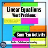 Linear Equations Word Problems Sum Em Activity