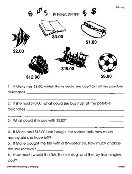 Word Problems with Money (CCSS 2.MD.C.8)
