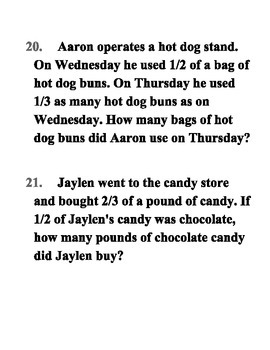 Word Problems with Multiplying Fractions