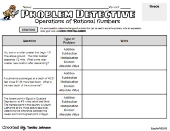 Word Problems with Negative & Positive Rational Numbers (Freebie)