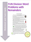 Division Word Problems with Remainders worksheet & FUN task cards