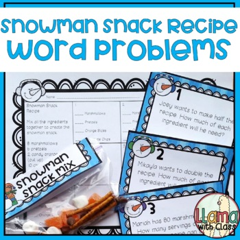 Word Problems with Snowman Snack Math