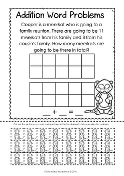 Word Problems with Tens Frames - Addition to 20 - Worksheets for Grade One!