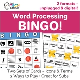 Word Processing Bingo - Digital and Unplugged Versions!