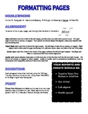 Word Processing & Formatting Pages Basics and Reminders