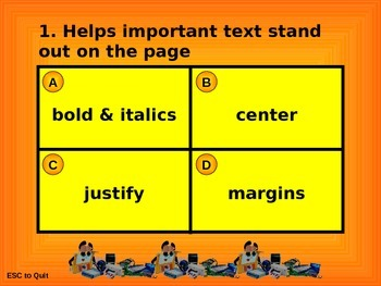 Word Processing Intermediate Quiz Game