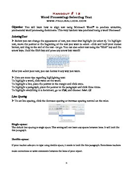 Word Processing Handout Series