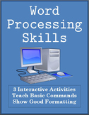 Word Processing Skills Activities - Computer Games