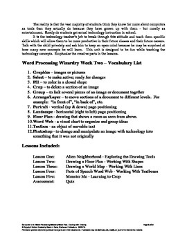 Word Processing Wizardry-Week Two:  Dealing With Drawing, Technology, Computers