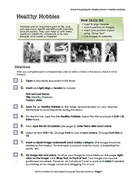 Word Processing for Middle School--Healthy Hobbies
