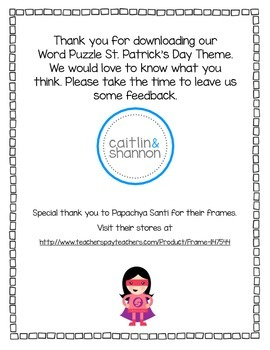 Word Puzzle St. Patrick's Day Theme