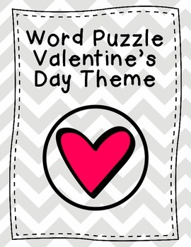 Word Puzzle Valentine's Day Theme