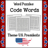 Word Puzzles - Code Words (Theme - U.S. Presidents) NO PREP
