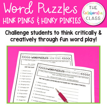 photo relating to Hink Pinks Printable identified as Hink Pinks Worksheets Training Supplies Lecturers Pay out