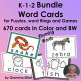 Bundle of Word Cards for Puzzles and Matching K - 1 - 2 Color and BW